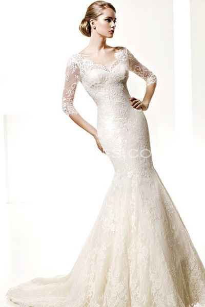 Catching Mermaid Silhouette Lace Wedding Gowns with Three-Quarter Sleeves, New Arrivals Wedding Dresses - Trendress.com--I don't know if you've considered the mermaid style but I think you should try on at least a couple in this style to see if you like it