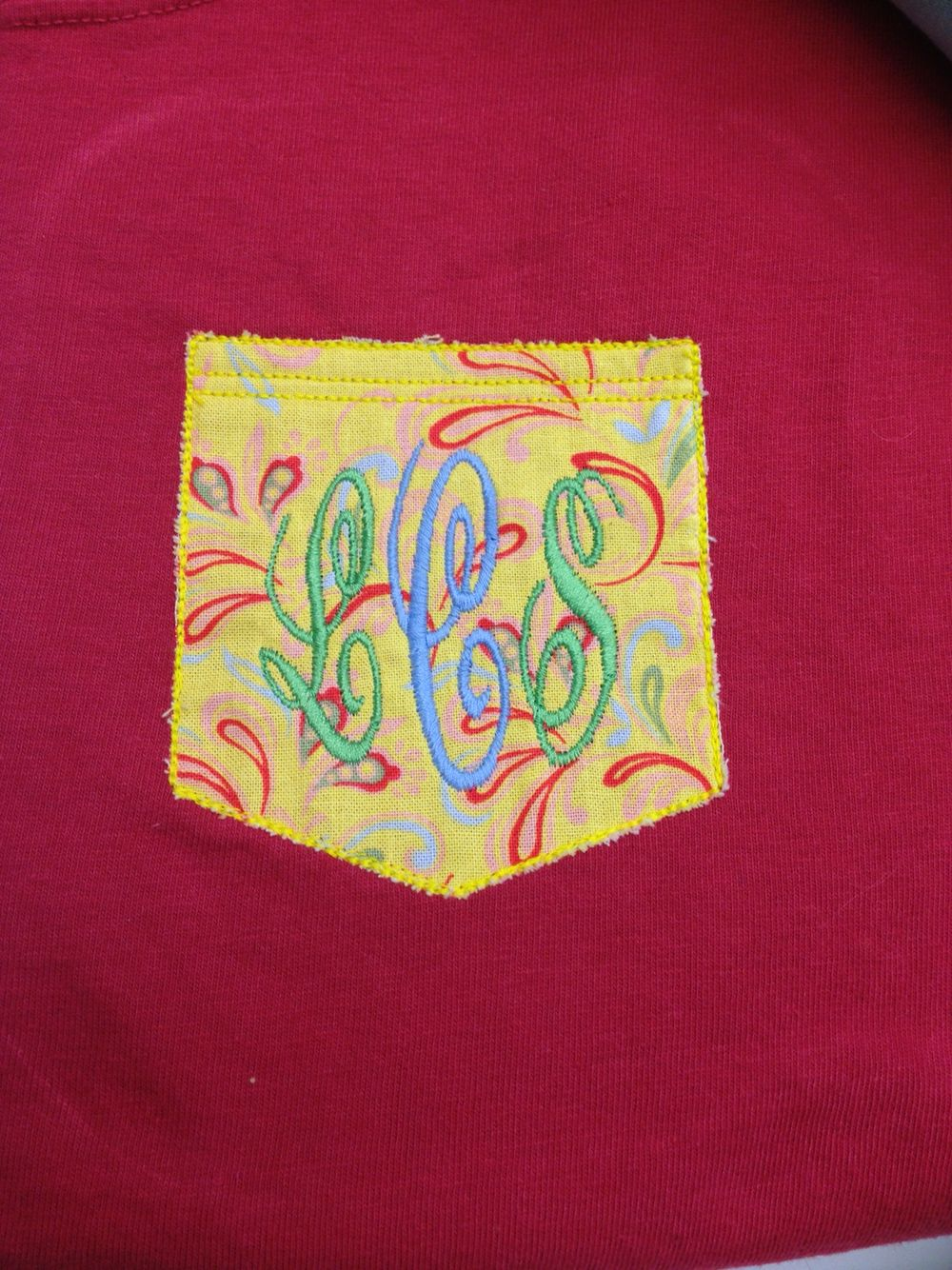 Faux pocket with monogram