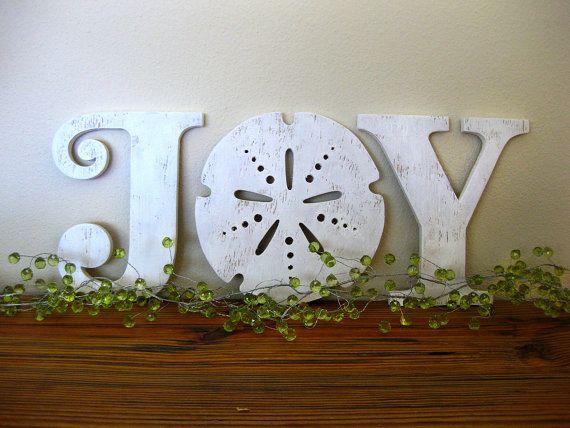 JOY, Christmas, beach, cottage, coastal, word sign, wood sign, sand