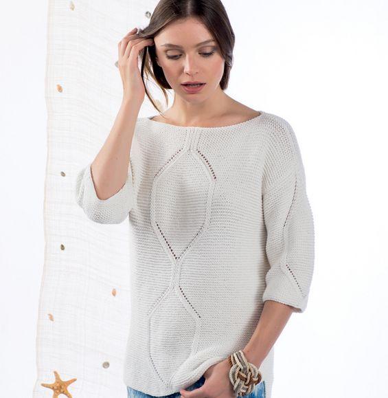 Modèle pull motif placé Femme - Modèles Femme - Phildar | MI ...