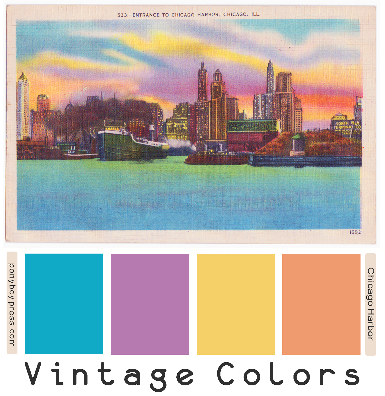 Vintage Color Palettes - Chicago Harbor - ponyboypress.com, See blog for hex colors and how to use VCP.