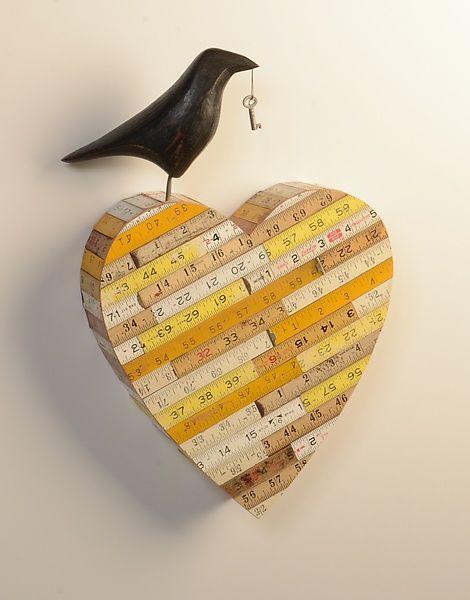 Raven on Ruler Heart: Mark Orr: Wood Wall Art - Artful Home   Rulers ...