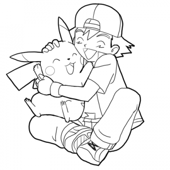 Pokemon Hug Pokemon Hugs Coloring Pages