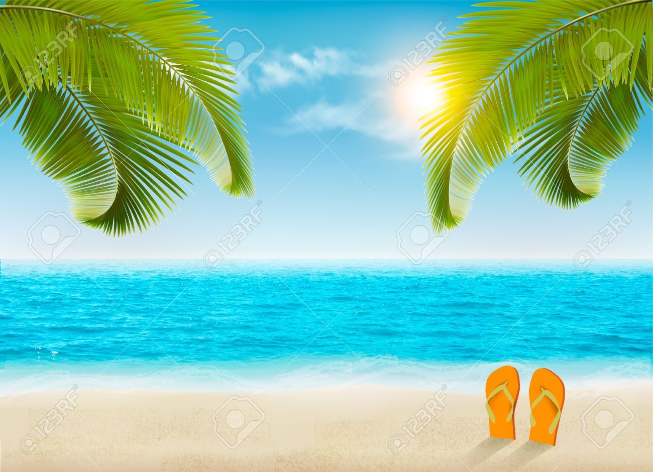 Vacation Background Beach With Palm Trees And Blue Sea Vector Ad Beach Palm Vacation Background Sea Beach Background Vacation Beach