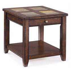 Magnussen Allister Wood Rectangular End Table in Cinnamon