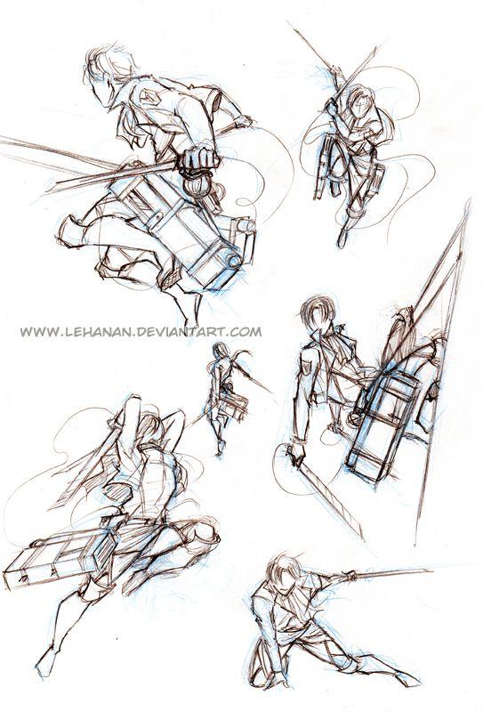 Shingeki No Kyojin Action Poses Practice By Lehanandeviantartcom