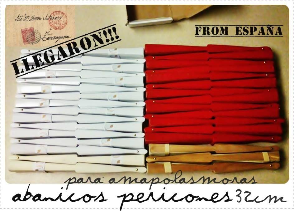 Llegaron!! nuevamente en STOCK! Abanicos PERICONES FLAMENCOS de 32cm de varilla. Stock Limitado en: Blanco, Rojo, Madera, Crema y Negro. AmapolasMoras - Complementos Flamencos en Argentina