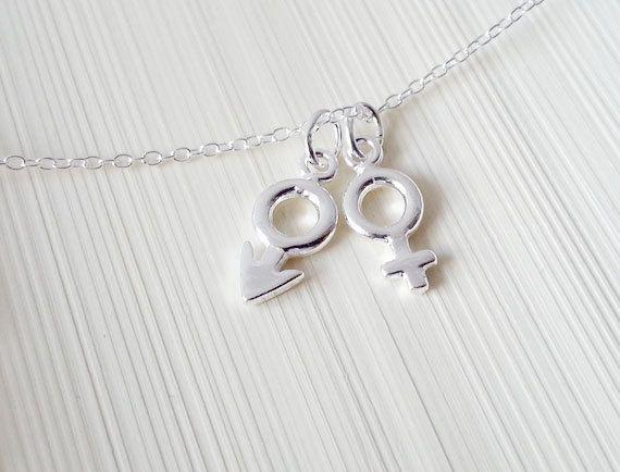 Mars Venus Symbol Necklace Sterling Silver Man Woman Symbol Man