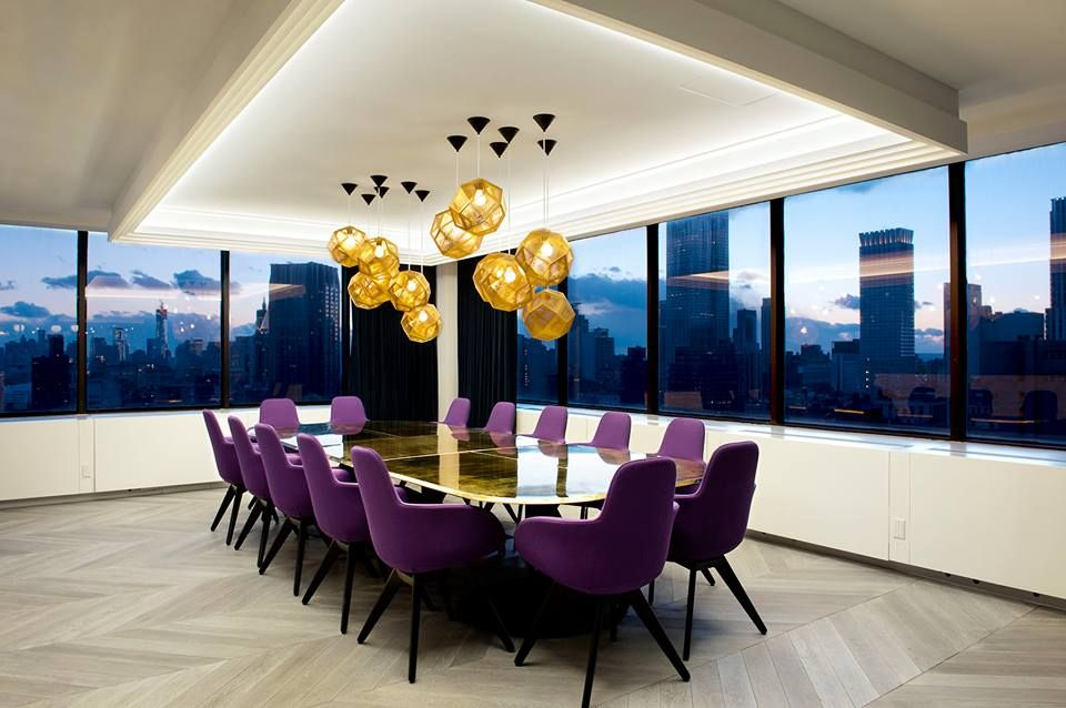 Office I Conference I Furniture I Seating I McCann Office I Design Research Studio I Scoop High Chair & Etch Shade Lighting by Tom Dixon