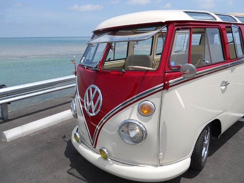 af8ef85f47f754 Red and white 21 window Volkswagen Bus ☮