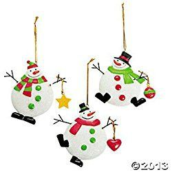 Dozen 12 Chubby Snowman Christmas Ornaments Red Green White Resin With Wire Arms Holiday Decorations Decor Winter