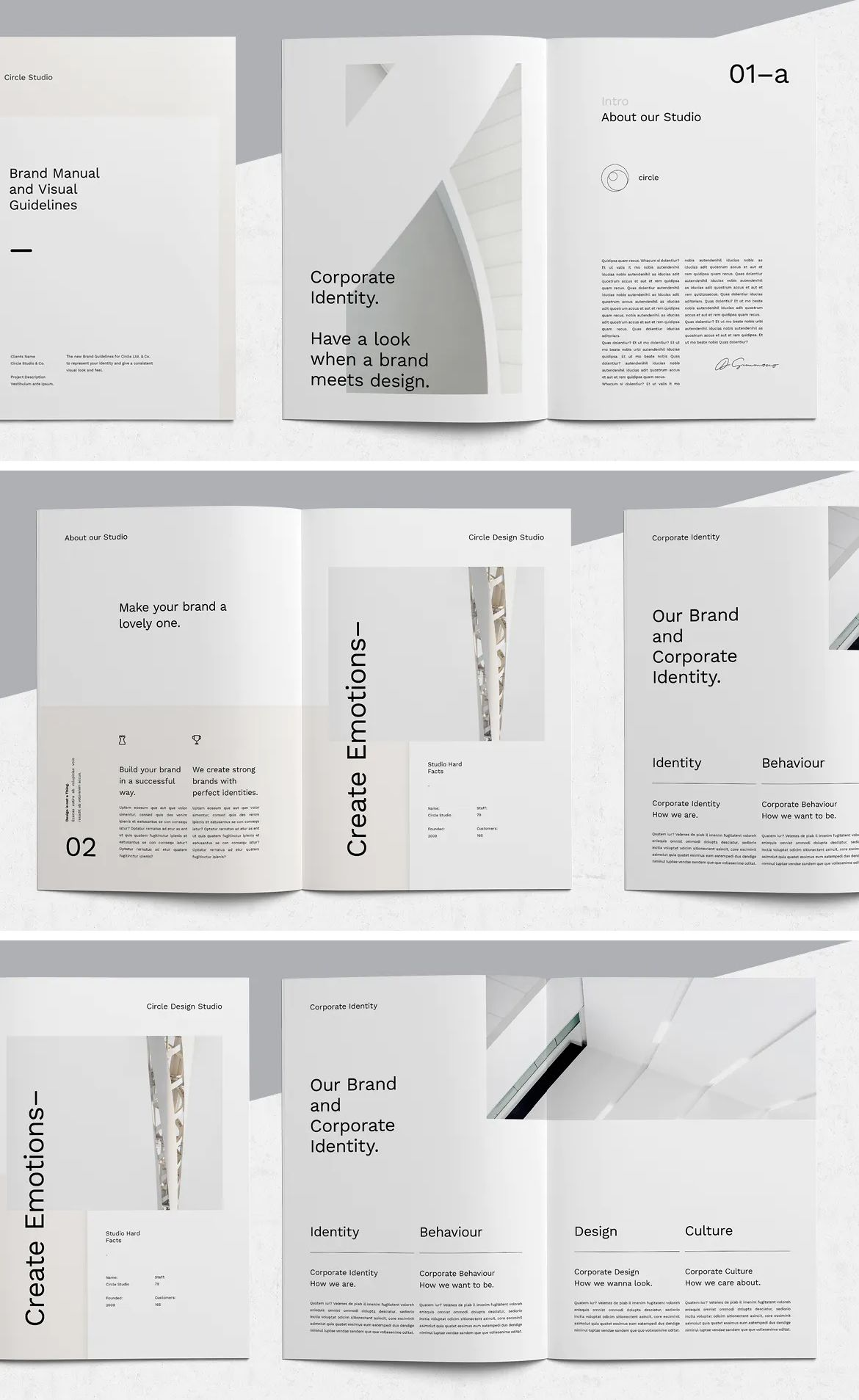 Minimal and Professional Brand Manual Brochure Template InDesign INDD - 36 Pages. A4 and US Letter size. Download