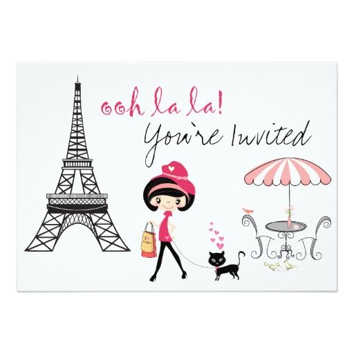 Cute girl and black cat paris birthday invitation paris birthday personalized cute girl and cat paris birthday party invitation this invite features an adorable girl with her black cat in paris with the eiffel tower and filmwisefo Gallery