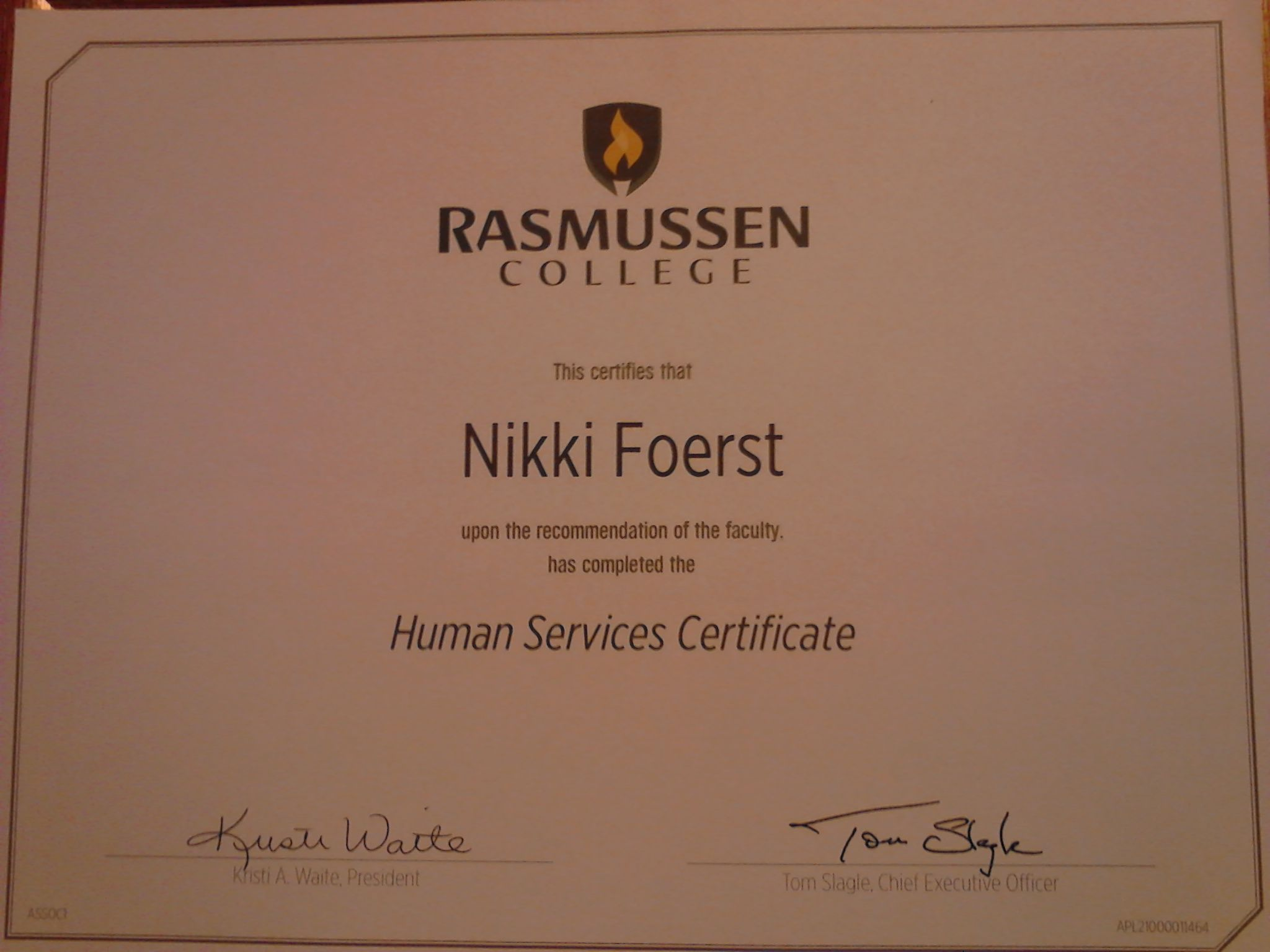 Freshman Year Complete Certificate Earned My College