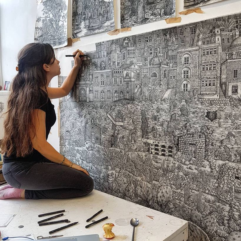 mega drawings by olivia kemp illustrate mythical landscapes in great detail