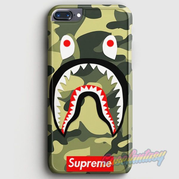 shark camo bathing bape supreme iphone 7 plus case. Black Bedroom Furniture Sets. Home Design Ideas