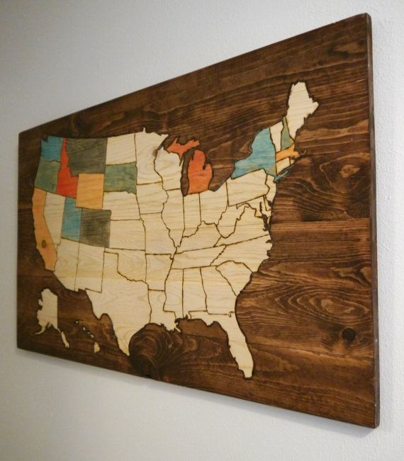 Very Cool Woodburned USA Map A Great Gift For Anyone Who Loves - Colorable us map