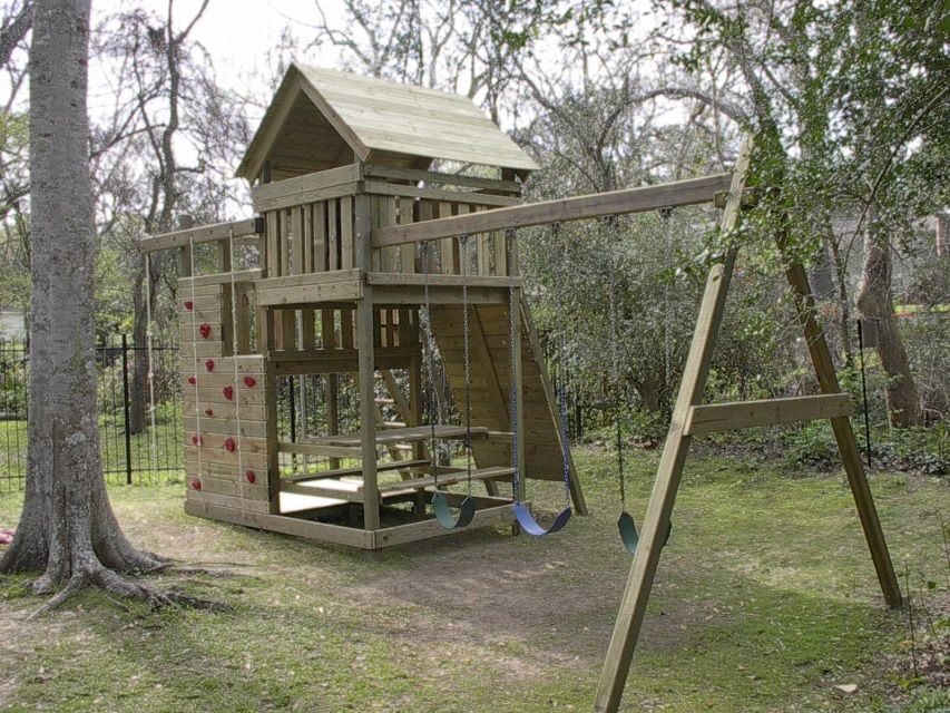 Gemini playset diy wood fort and swingset plans home for Build your own wooden playset