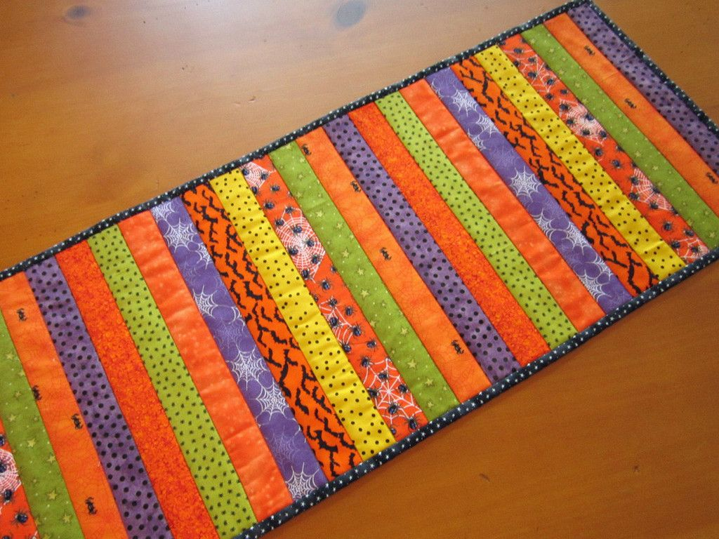 Handmade Quilted Halloween Table Runner Orange Stripes by patchworkmountain.com