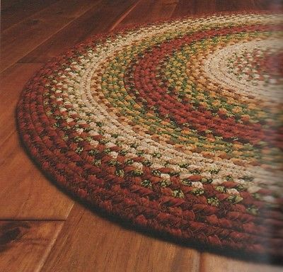 Cotton Braided Area Floor Rug Oval Red Brown Rustic Cottage Cabin