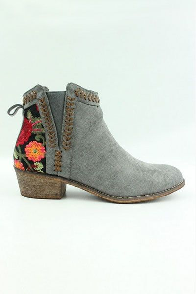 d60809f38e15 Grey Floral Embroidered Booties Ankle Shoes Suede Low Heels Boots Women  Flower