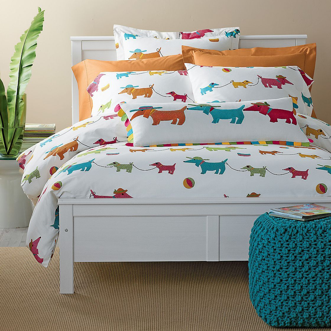 Summer Dogs Percale Bedding   The Company Store Too cute! Have got to order me a flat twin sheet for 19$ and make a couple sets of shams!