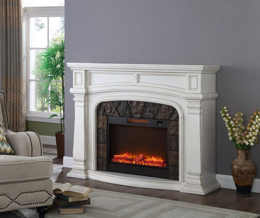 Grand White 62 Electric Fireplace White Electric Fireplace