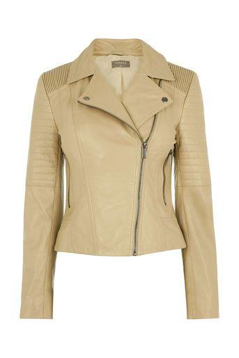 Oasis, Alexa Leather Biker Jacket Tan
