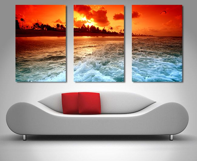 This beautiful triptych 3 section canvas print is of churning water at sunset the original