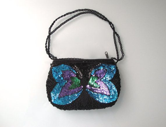 Butterfly Purse Vintage Beaded Boho Sequin by BlueRoseRetro, $28.00