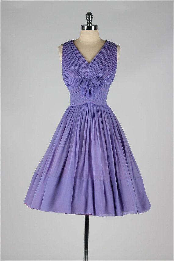 Vintage 1960s dress . purple crepe chiffon . ruched party dress ...
