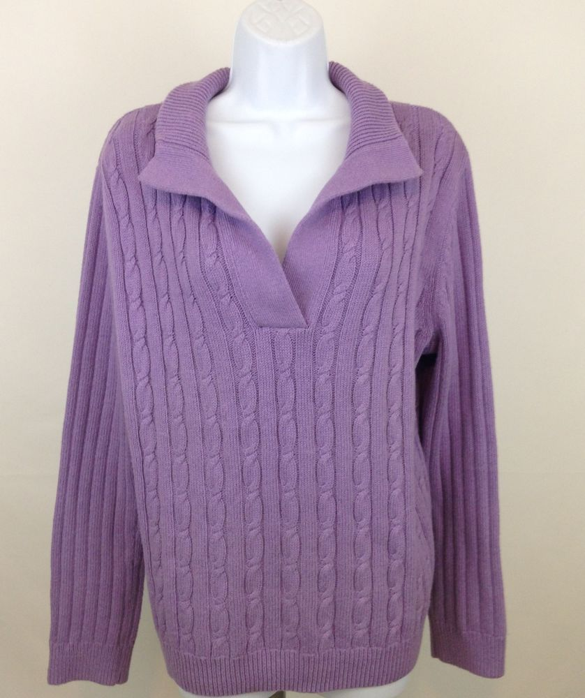 Women's XL Talbots Purple Cable Knit Sweater Long Sleeve V Neck ...