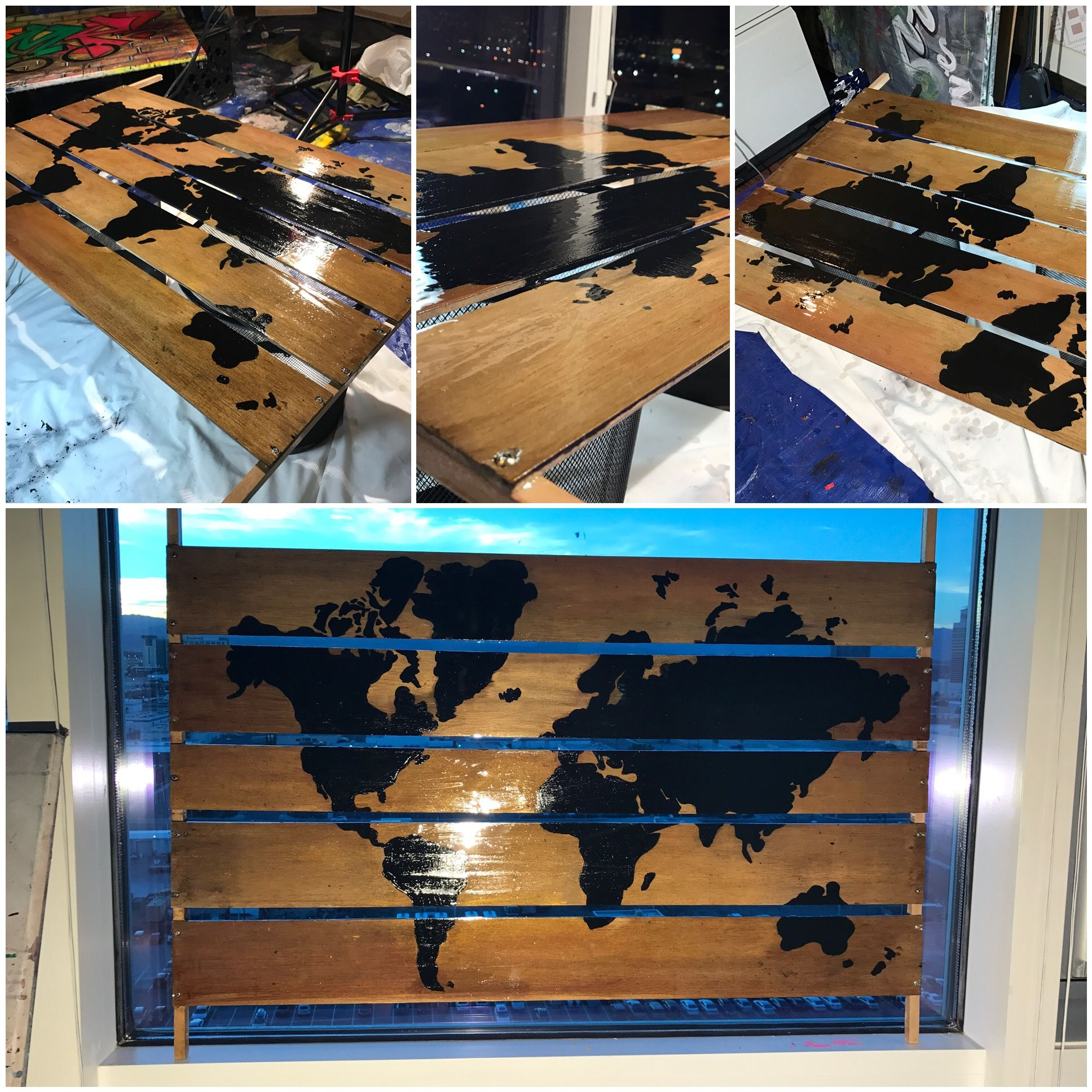 commissioned 5 pc wood world map art acrylic finished w high gloss