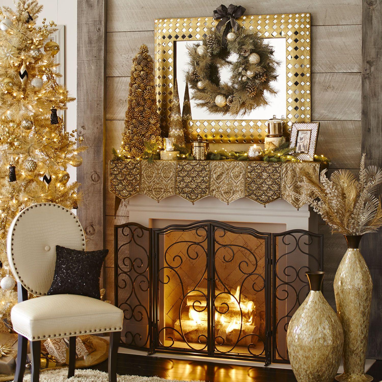 Beaded Metallic Mantel Scarf Holiday Fireplace Looks Pinterest