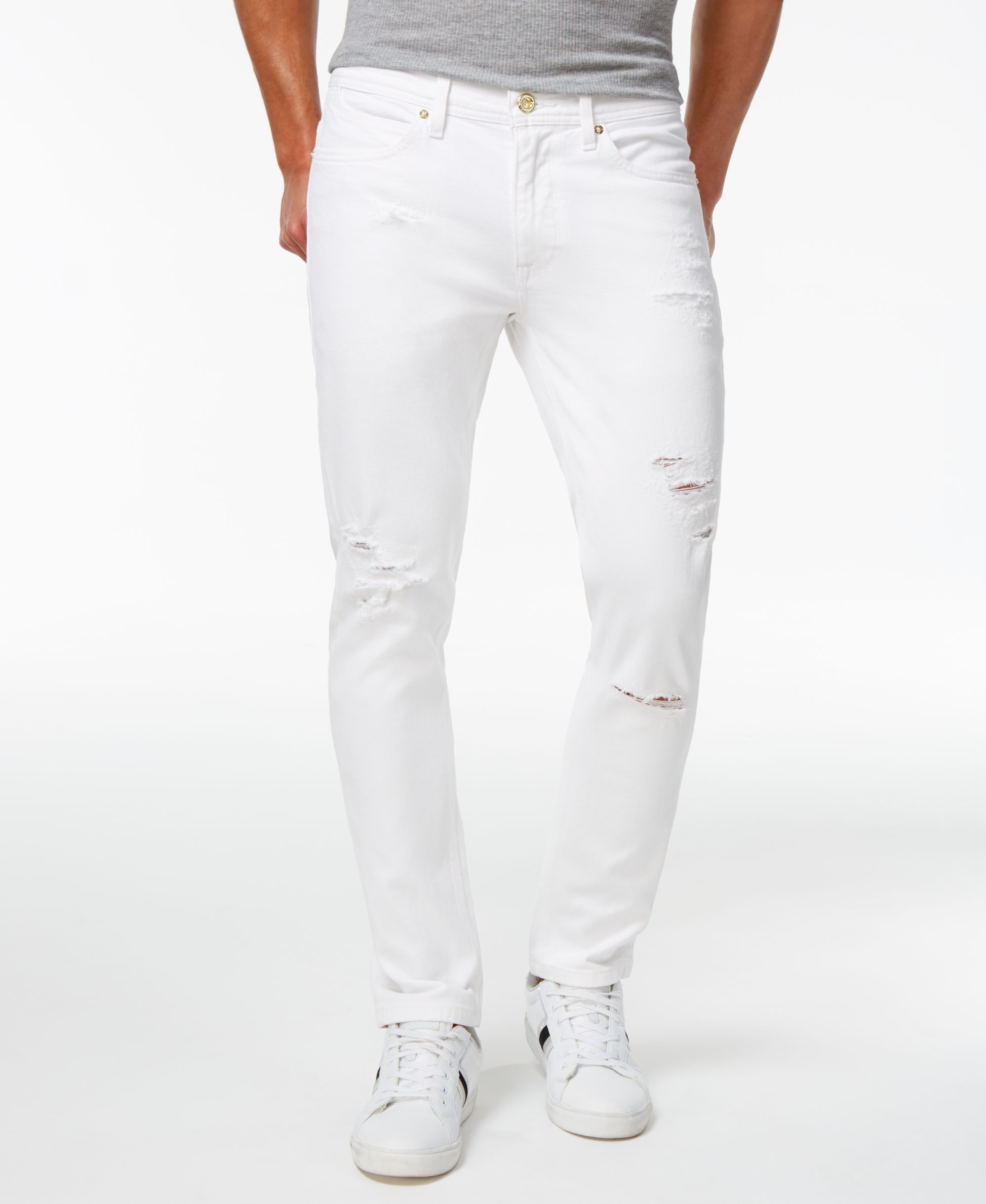 ad8c20e51f7 Sean John Men s Essex Slim-Fit Stretch White Destroyed Jeans ...