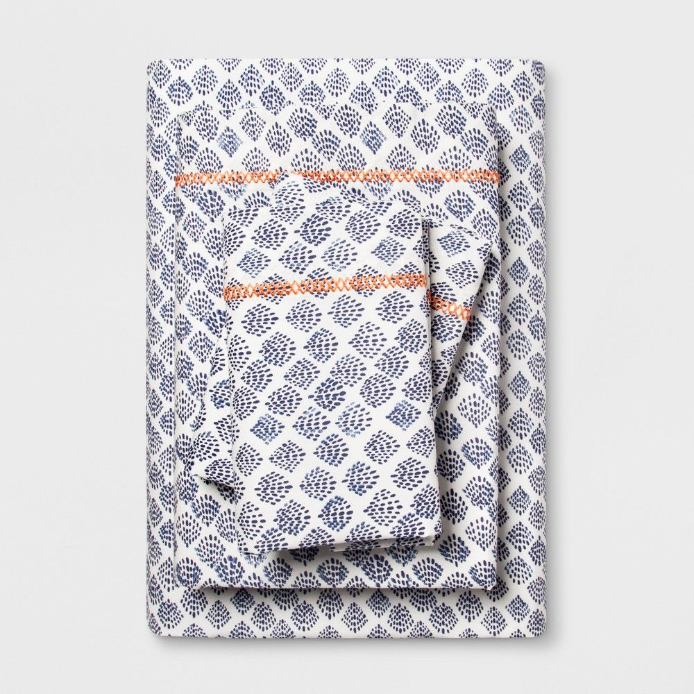 King Cotton Percale Print Sheet Set Indigo Opalhouse Cotton