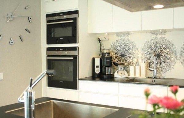 küchendeko stilvolle accessoires küchenrückwand rustikaler stil - wanduhren für die küche