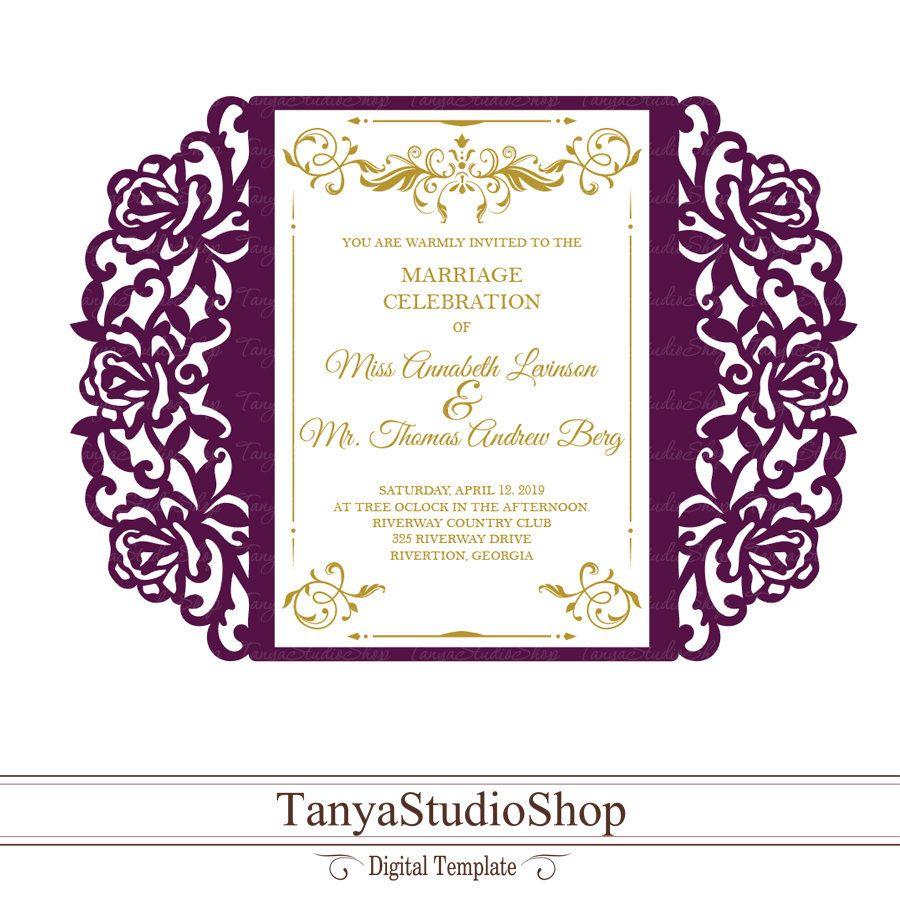 Gate Fold Invitation Template Svg Dxf Ai Crd Eps Laser Etsy Invitation Template Invitations Cricut Wedding Invitations