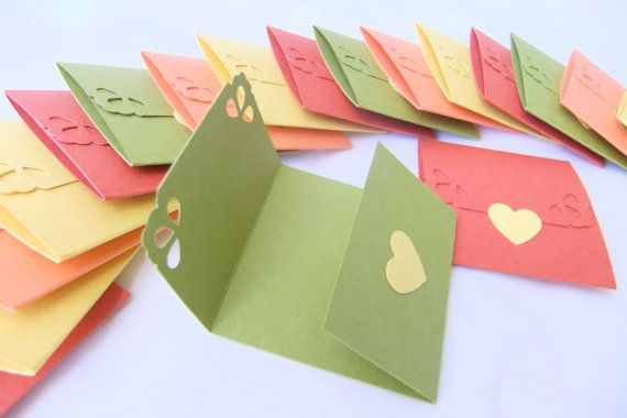 Mini note cards - Mini notecards Assorted color- Tri-fold envelope