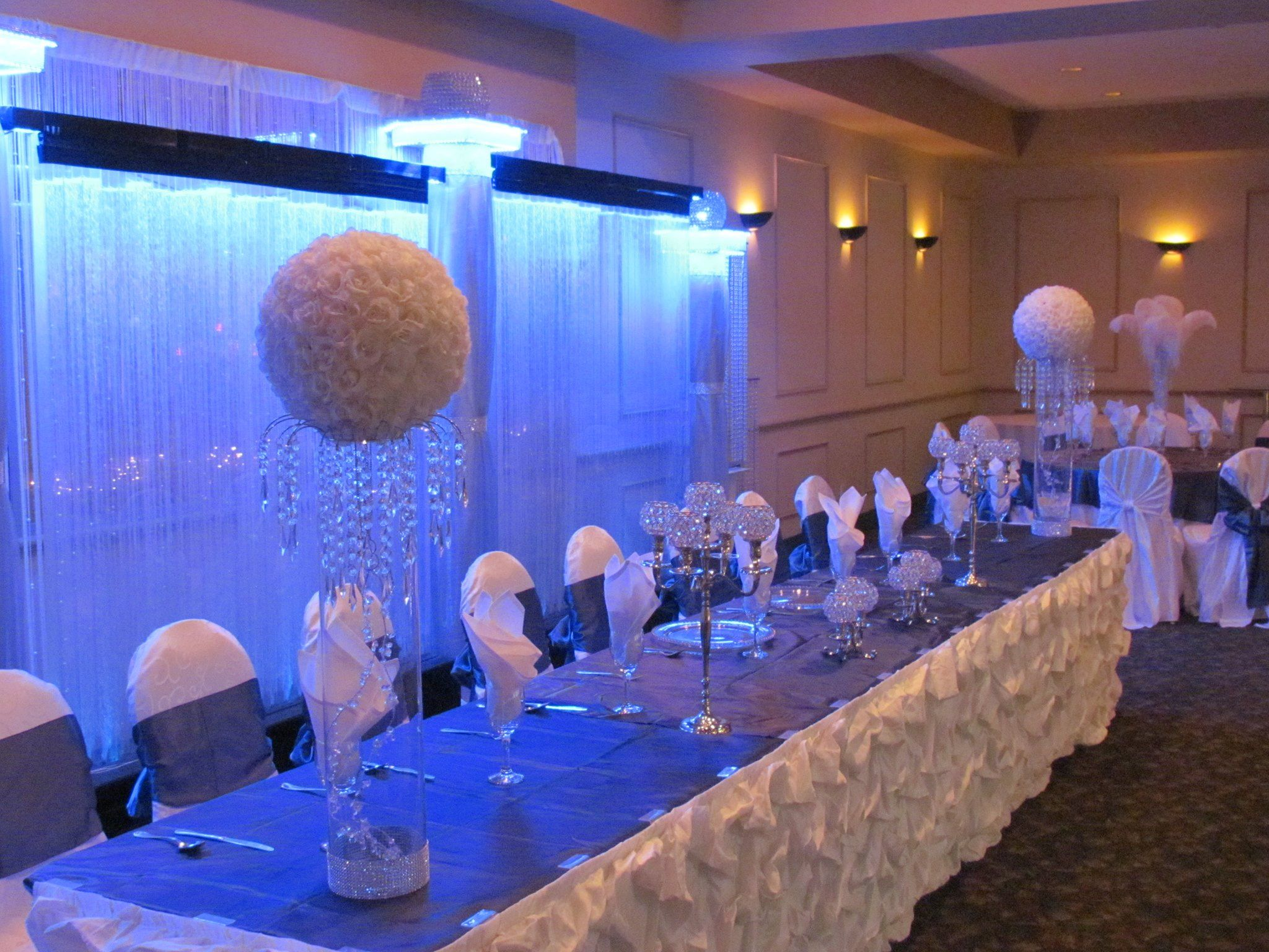 Gorgeous Head Table Decor In White And Royal Blue Designed By