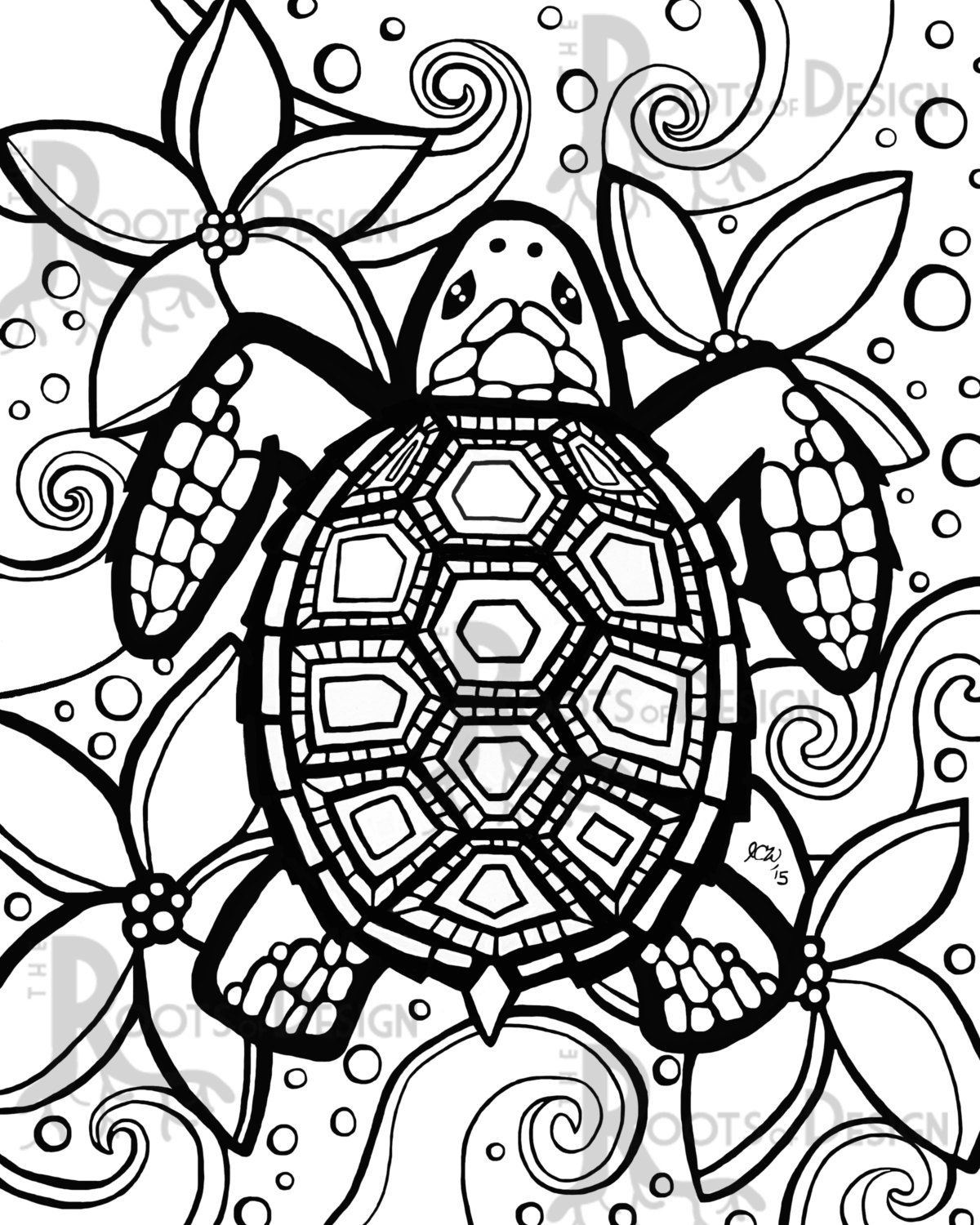 Instant Download Coloring Page Turtle Zentangle By