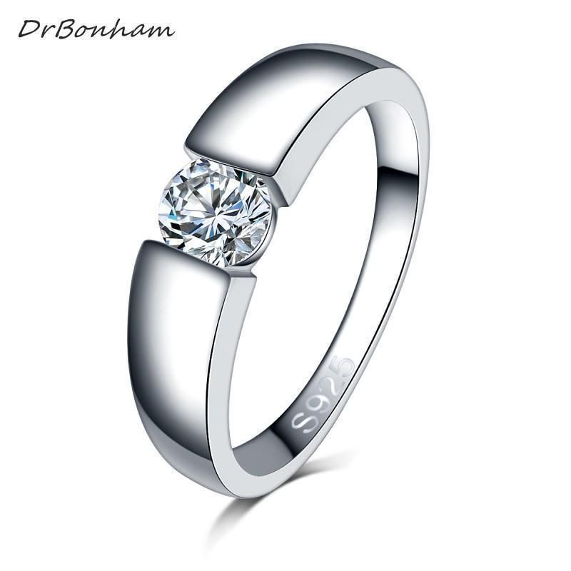 Silver Engagement Wedding Rings Zircon Colorful Crystal Love Women Jewelry Gift