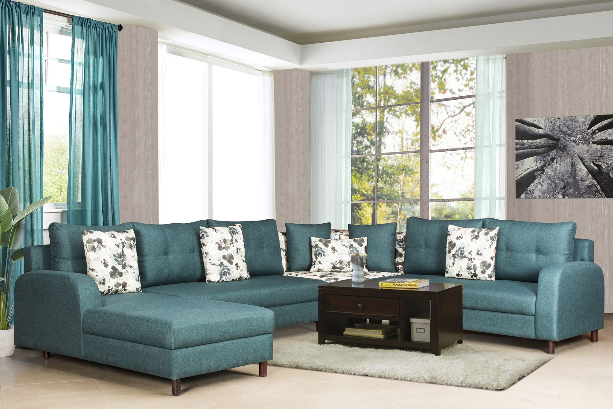 Recliner Sofa Kirti Nagar A La Carte Blue Fabric Corner Sofa Set Mrp Rs 149 000 00 Offer