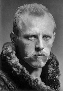 Head and shoulders portrait of Fridtjof Nansen, facing half-right. He has…