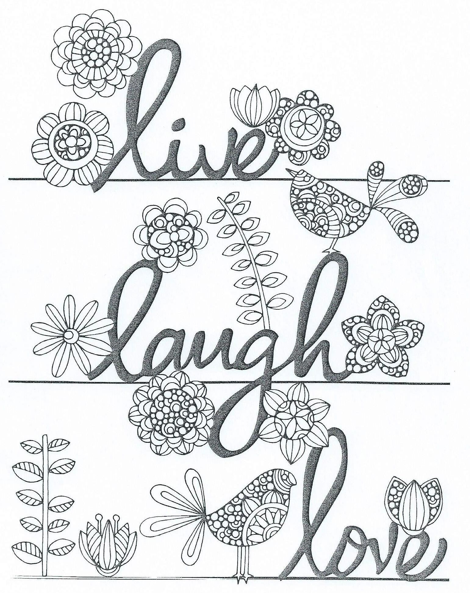 live laugh love | Words Coloring Pages for Adults | Pinterest ...