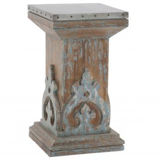 """Add a dash of color with this vintage inspired side table featuring an aged wood finish with distressed blue and a weathered tin top. Hammered nail heads add to antique nature of this piece.  Measures 24.5""""H X 13.5""""W X 13.5""""D."""