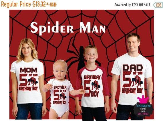 ba15dda2e On SALE 30% OFF Spiderman Birthday Shirt Boy Dad Mom by Popzybows Custom  Birthday Shirts