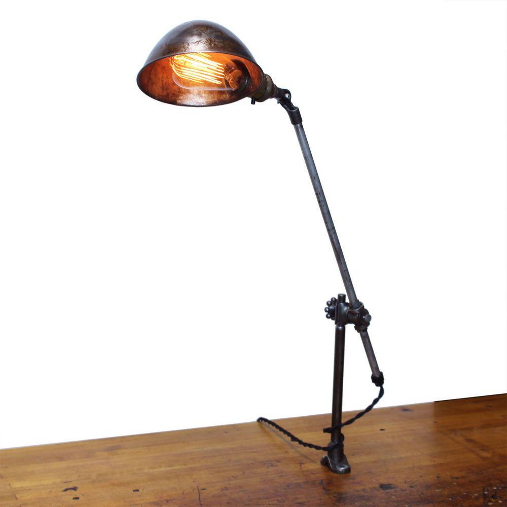 Vintage Industrial OC White Articulating Desk Lamp Knuckle Joint Machinist Light