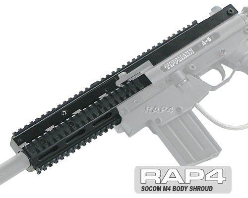 SOCOM M4 Body Shroud for Tippmann A-5 - paintball gun replacement part by Rap4. $99.95. Real Action Paintball is proud to introduce the SOCOM M4 Body Shroud for your Tippmann A5 marker! When you want to build a cutting edge M4 variant start with your A5 and add the SOCOM M4 Body Shroud. Special Operations Command (SOCOM) stripped the M4 down to its bare essentials and then rebuilt it with exactly the features their Special Forces soldiers need - like tremendously reducing wei...