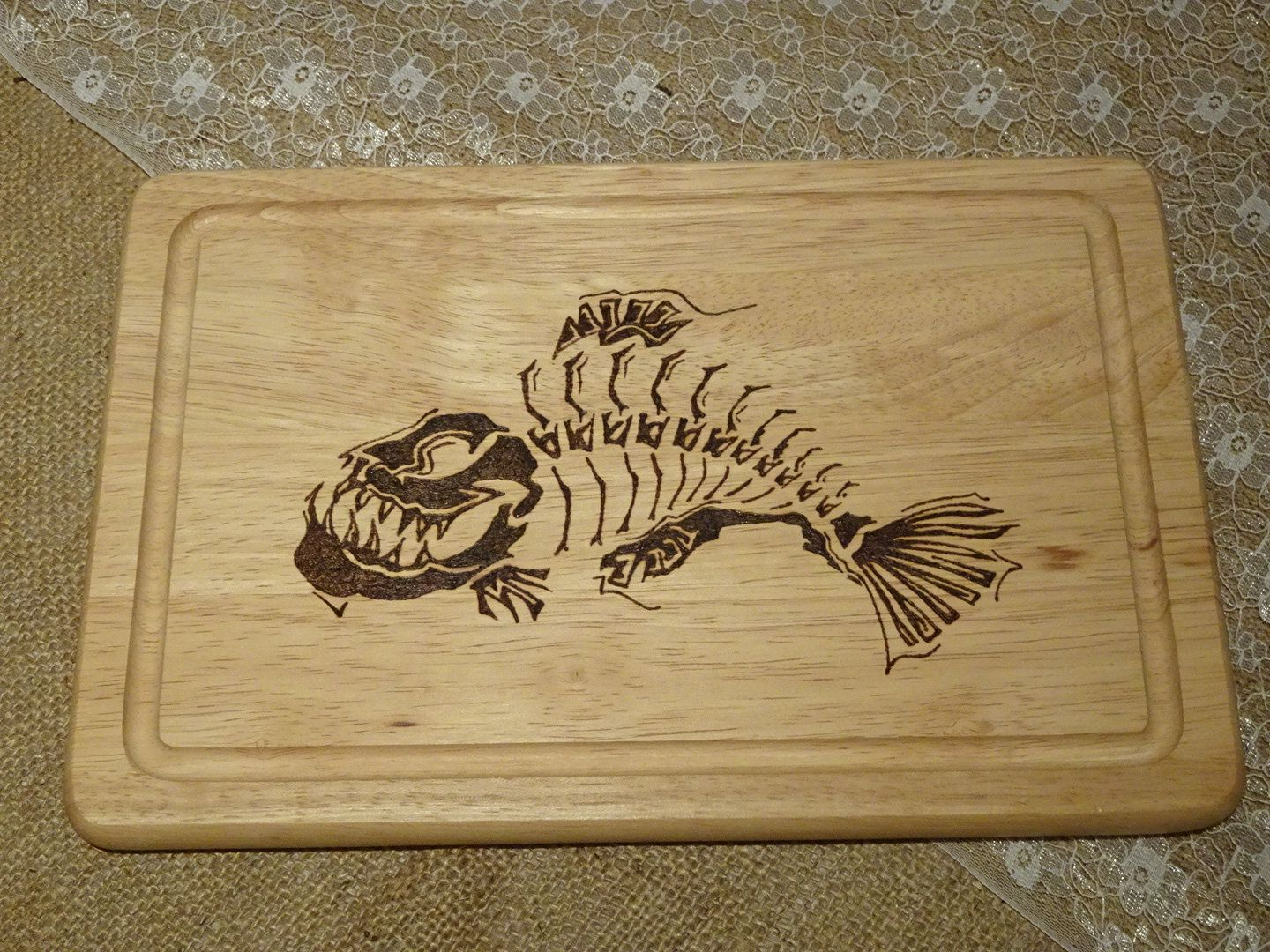 Hand engraved wooden servingchopping board fish etsy